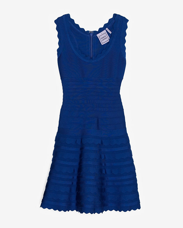 HERVE LEGER SCALLOPED FLARE DRESS: BLUE $1,690
