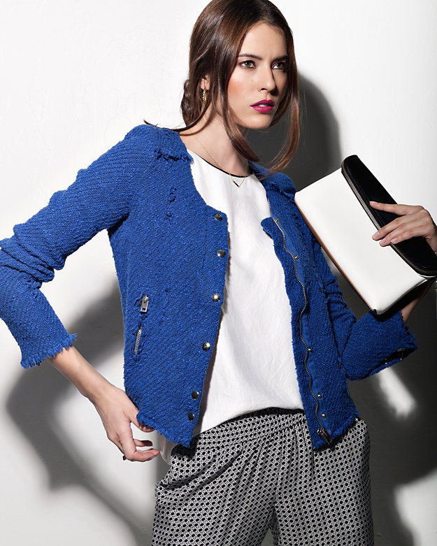Pretty in BlueIRO exclusive frayed tweet jacket $538